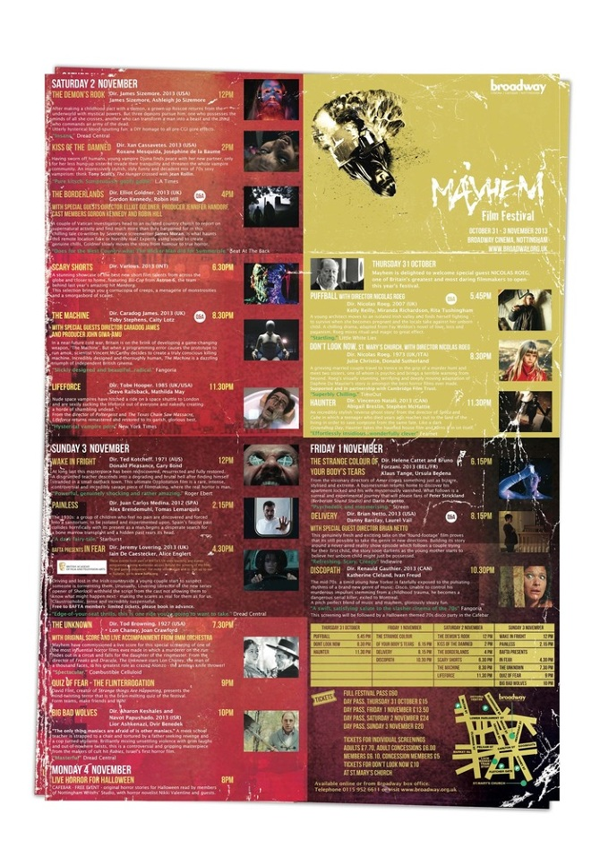mayhem film festival 2013 the project entailed the designing of the whole festival identity for the year each element was to resonate a thematic - Film Festival Brochure Template